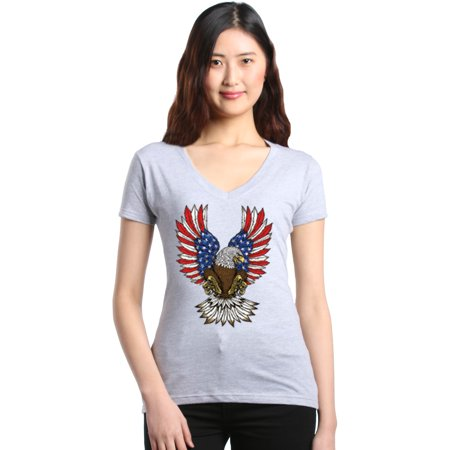 Shop4Ever Women's American Bald Eagle USA Wings Flag July 4th Slim Fit V-Neck T-Shirt American Eagle Cotton Sweater