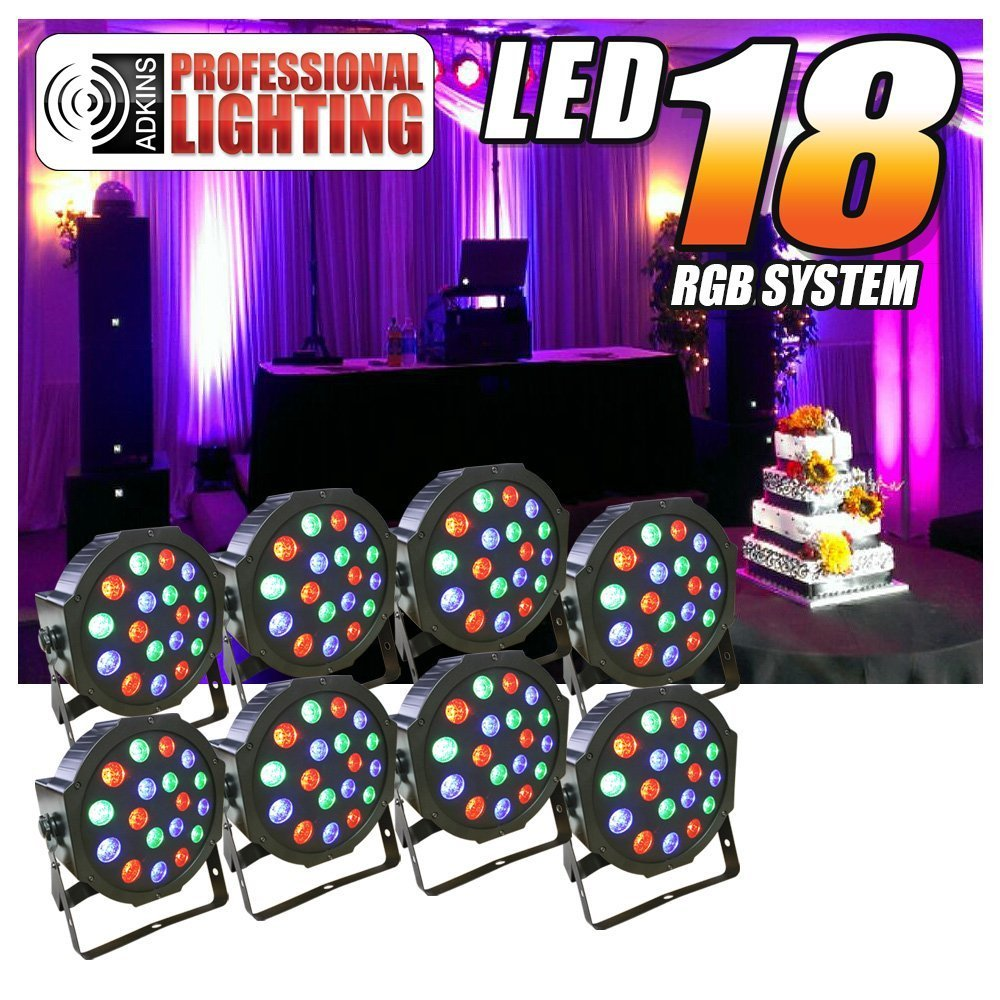 8 Piece Up-Lighting Full RGB Color Mixing LED Flat Par Can 18 LEDs per light w Easy Remote... by Adkins Pro Audio & Lighting