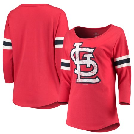 Women's New Era Red St. Louis Cardinals Scoop Neck 3/4-Sleeve T-Shirt