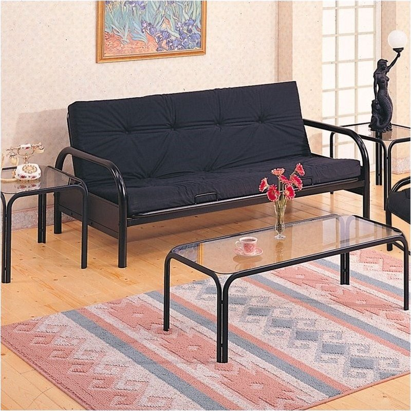 Bowery Hill Metal Full Size Futon Frame with Large Armrest in Black