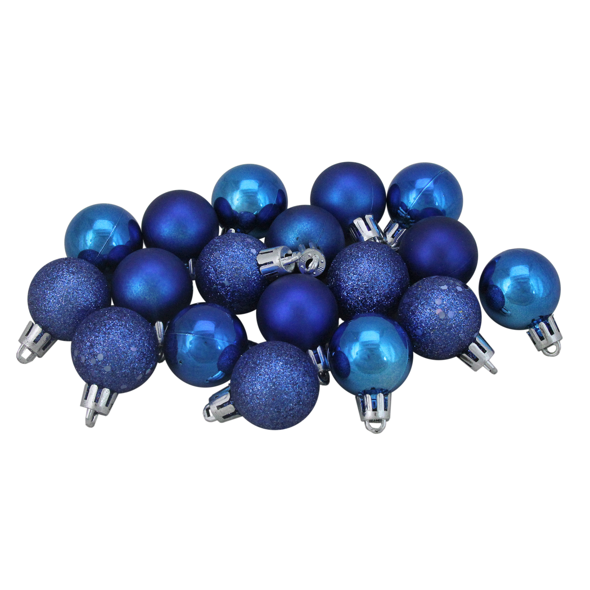 "18ct Shatterproof Lavish Blue 4-Finish Christmas Ball Ornaments 1.25"" (30mm)"