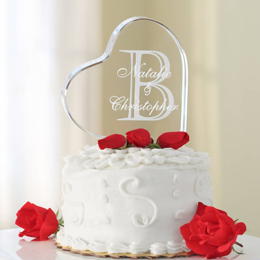 Personalized Acrylic Heart Cake Topper, Multiple Designs
