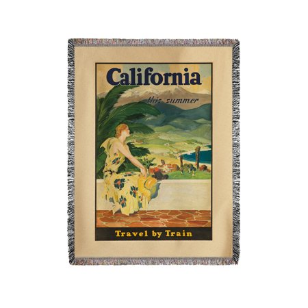 California   Travel By Train Vintage Poster Usa C  1930  60X80 Woven Chenille Yarn Blanket