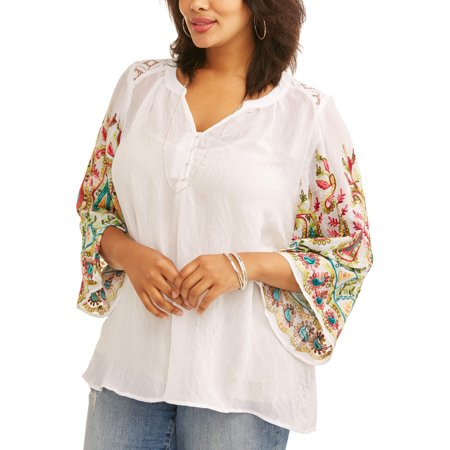 - Women's Plus Embroidered Sleeve Peasant Top