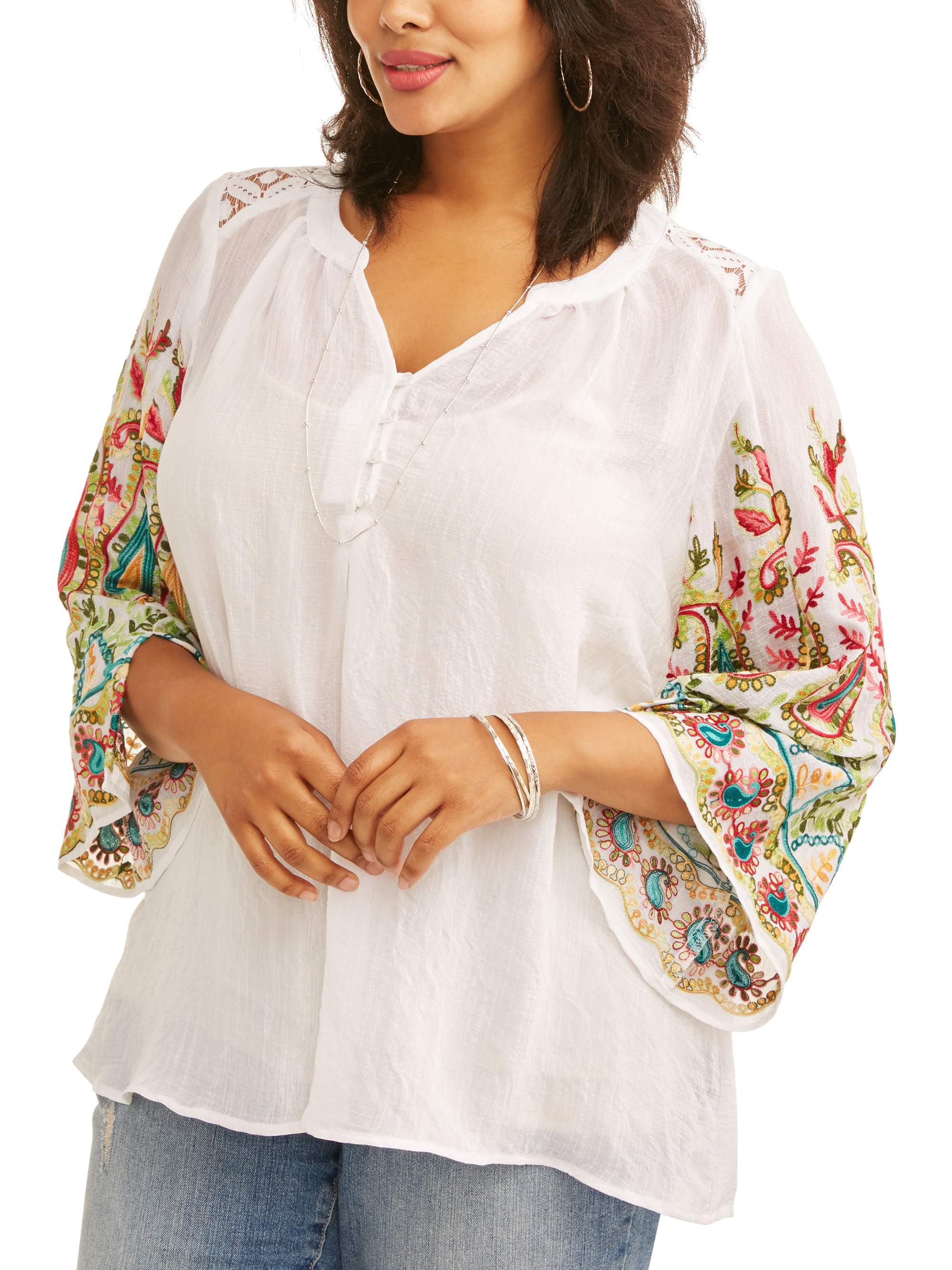 Women's Plus Embroidered Sleeve Peasant Top