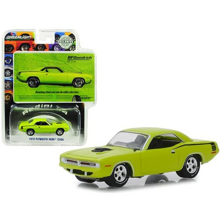 1967 Plymouth Barracuda Convertible (1970 Plymouth HEMI Barracuda Lime Green BFGoodrich Vintage Ad Cars Hobby Exclusive 1/64 Diecast Model Car by Greenlight )