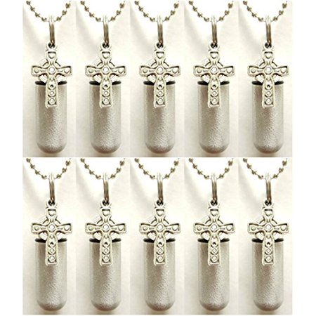 Wholesale Set of TEN - Brushed Silver CELTIC CROSS CREMATION URN Necklaces with ENGRAVED Hearts - Includes 10 Velvet Pouches, 10 Ball-Chains and & Fill (Cross Celtic Inspired Necklace)