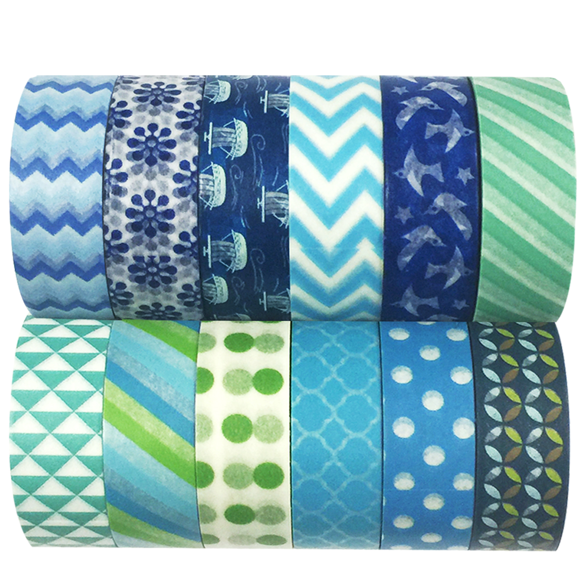 Wrapables® WPSET14 Washi Masking Tape Collection (Set of 12)