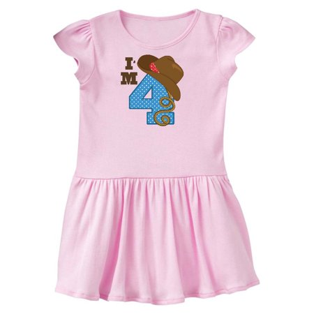 4th Birthday Cowboy Cowgirl 4 Year Old Toddler Dress (Cowgirl Western Dresses)