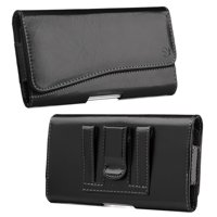 [World Acc] Premium PU Leather Pouch Holster Belt Clip Case For LG Stylo 3 / LG Stylo 3 Plus (2017) (Premium Black Curve Pouch)