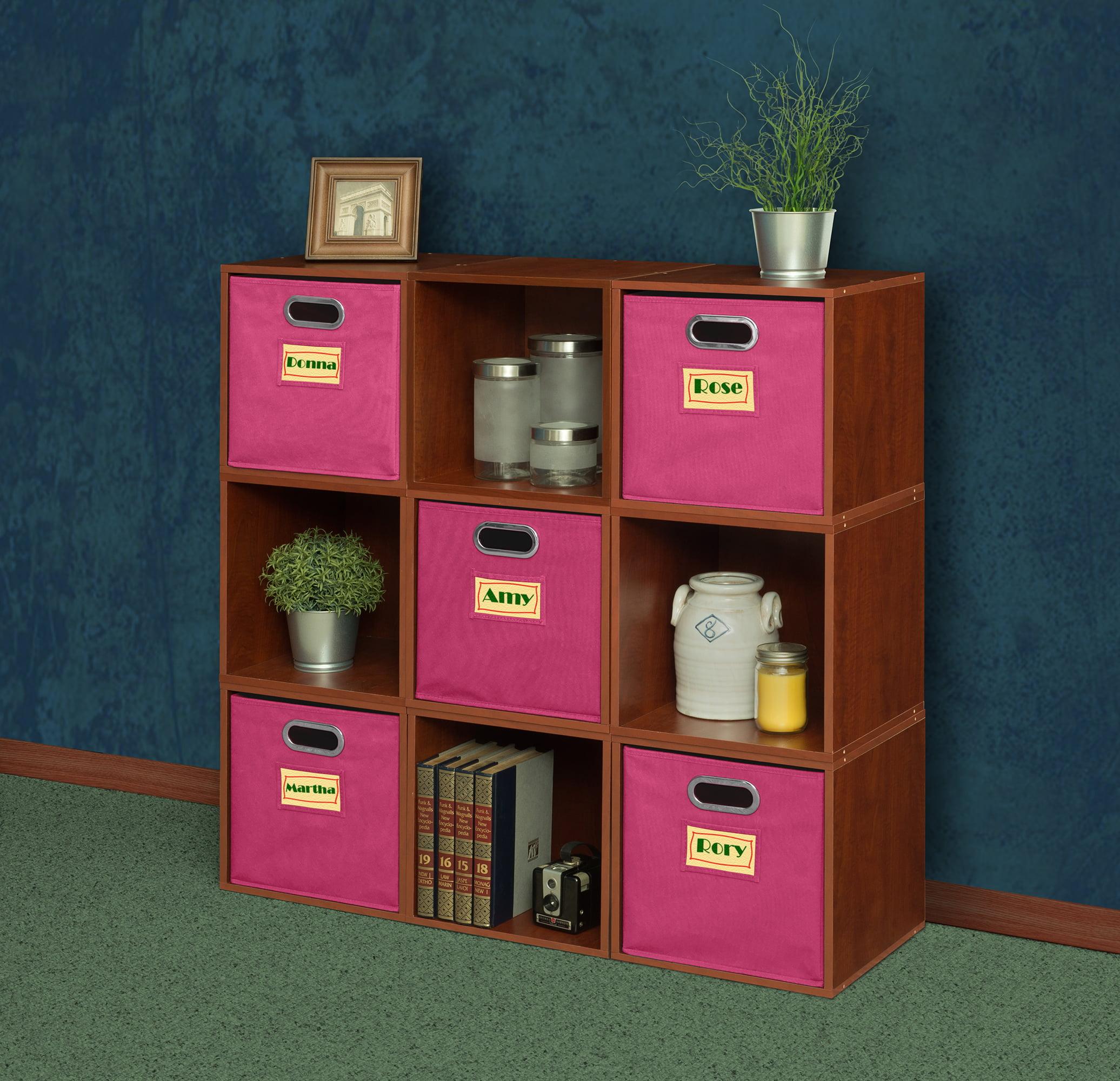 Regency Niche Cubo Storage Set, 9 Cubes and 5 Canvas Bins- Cherry/Pink