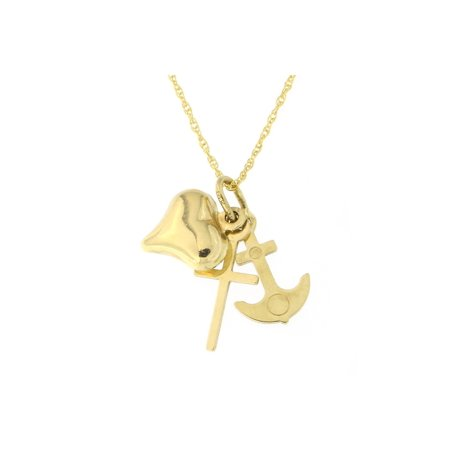 Beauniq 14k Yellow Gold Cross, Anchor and Heart Pendant Necklace - Heart And Cross Necklace