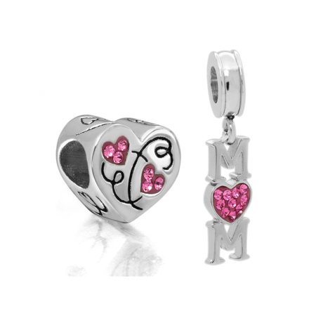 Stainless Steel Crystal Mom and Heart Charm - Heart Charms