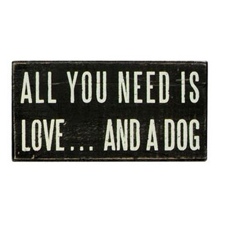 All You Need Is Love And A Dog Black Wooden Box Sign Vintage Style Primitives