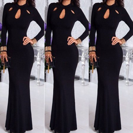 Womens Elegant Formal Evening Party Cocktail Prom Ball Gown Long Maxi Dress Black Size S Elegant Cocktail Party Dress