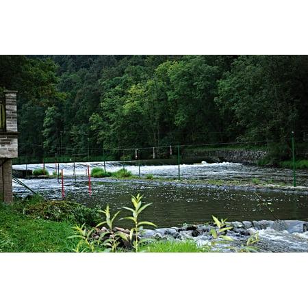 Framed Art for Your Wall River Lu?nice Slalom Poles Slalom Course Weir Camp 10x13 Frame