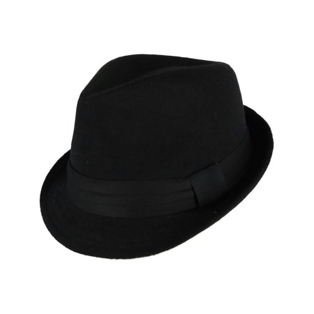 Size Large/Xlarge Men's Felt Trilby Fedora hat with Wide Hatband, Black](Fedora Black)