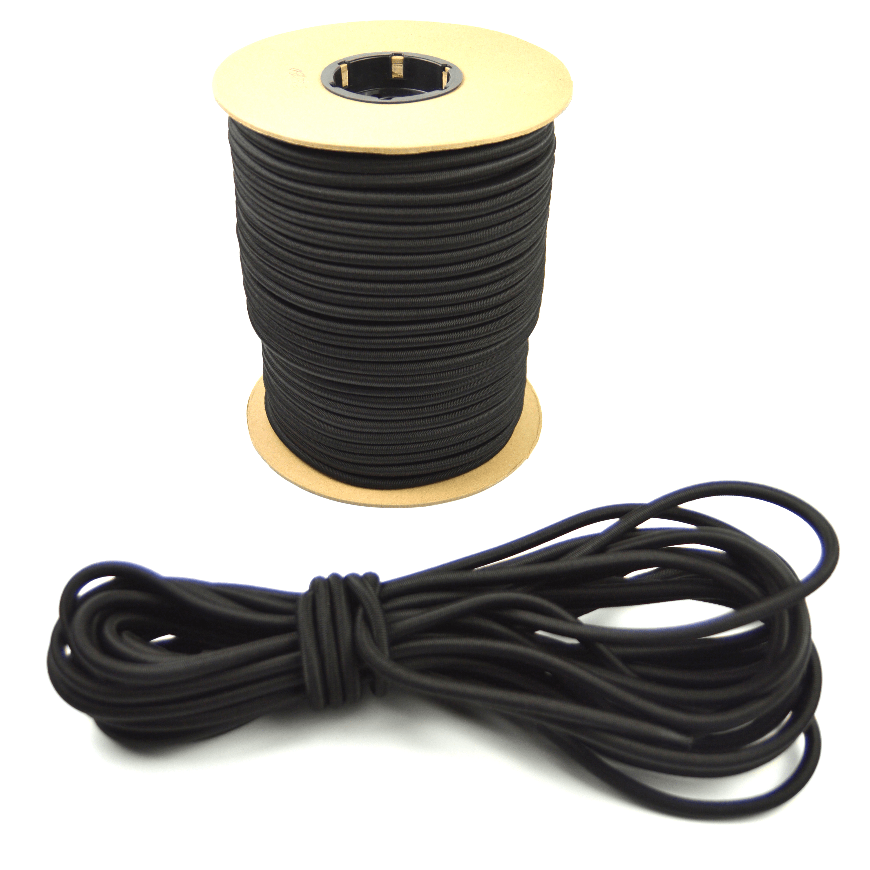 """50ft of Marine Masters 3/8"""" Black Bungee Shock Cord - Elastic Stretch Rope"""