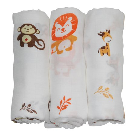 Animal Bamboo Infant Swaddle Blankets- Safari Friends -Monkey, Lion, Giraffe - Large Muslin Wraps Naturally Resist Germs - Miracle Worker for New Moms Wanting More Sleep -Baby Shower Gift (Safari Giraffe Blankets)