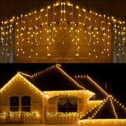 13FT Extendable LED String Lights,Waterproof Outdoor Fairy Lights Curtain Lights Icicle Lights for Christmas Garden Patio Party Decoration