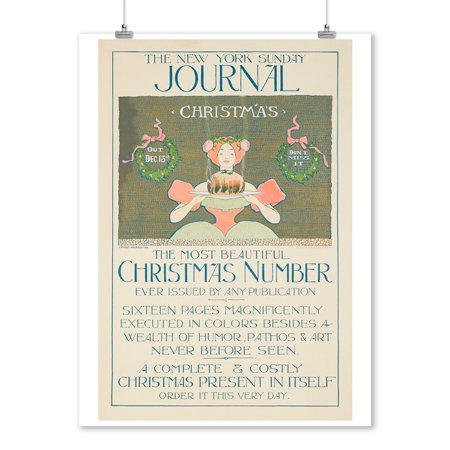 The New York Sunday Journal - Christmas Number Vintage Poster (artist: Haskell) USA c. 1896 (9x12 Art Print, Wall Decor Travel - Vintage Miriam Haskell