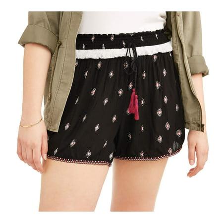 Juniors' Plus Size Printed Soft Shorts with Tassel Tie and Pom Pom Trim