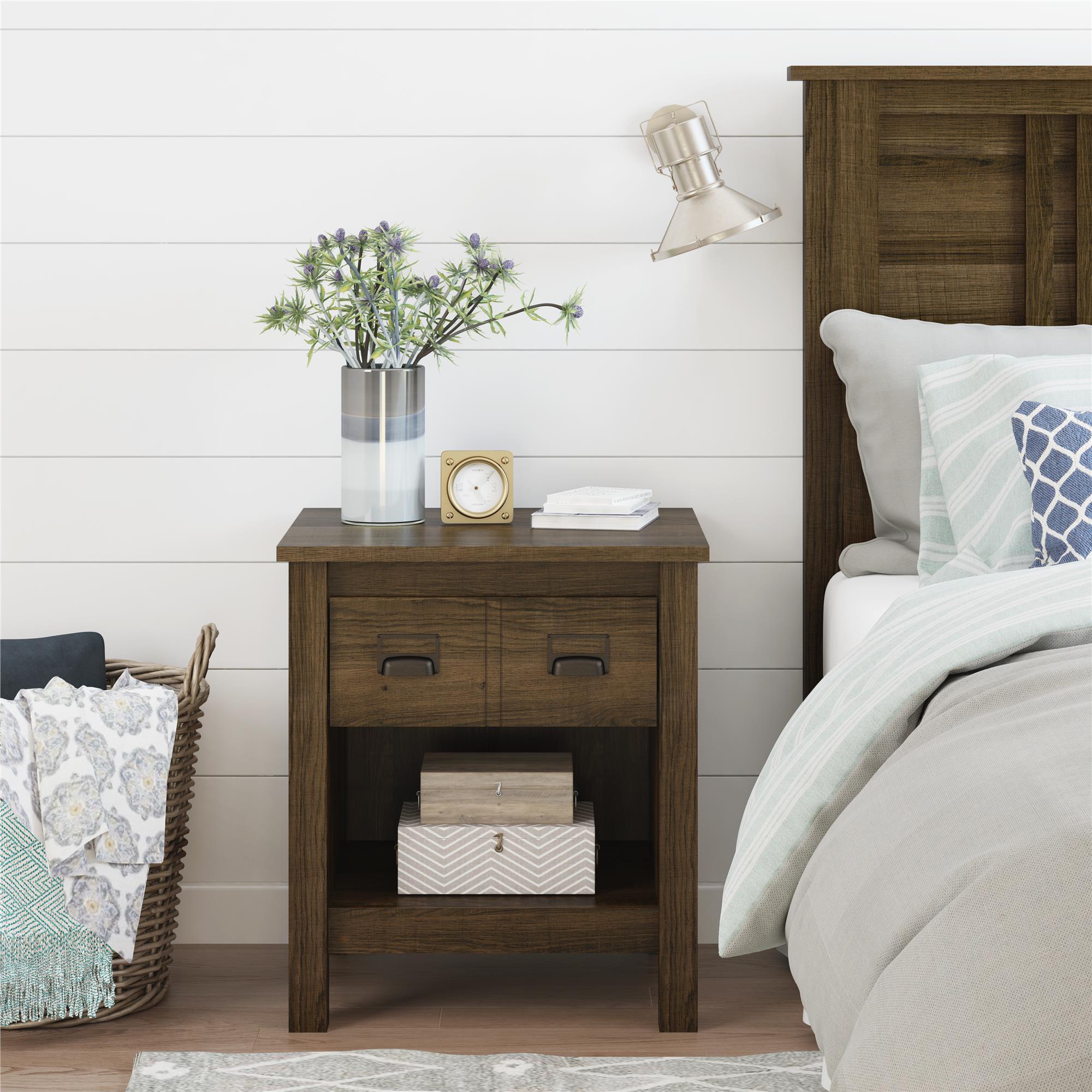 Better Homes & Garden Clarence Nightstand, Brown Oak