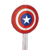 Captain America Pinata, Pull String, 18 x 18, 1ct
