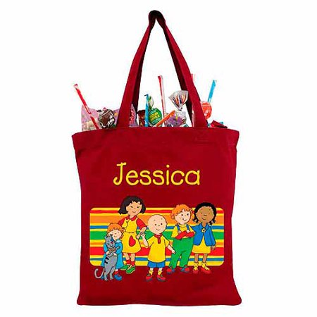 Personalized Caillou & Friends in Stripes Red Trick-or-Treat Bag - Caillou Halloween Episode