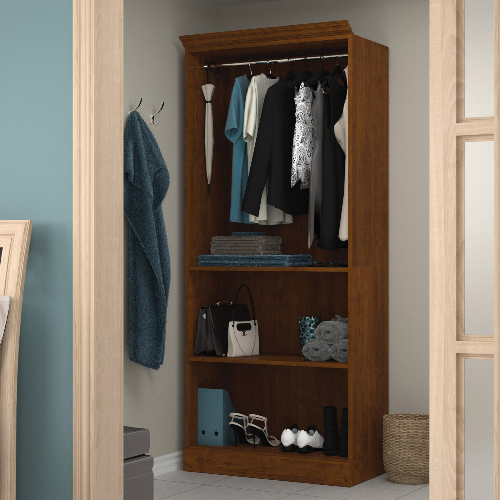 "Versatile by Bestar 36"" Closet storage shell in Tuscany Brown"