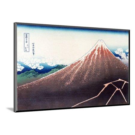 Sanka Haku from 36 views of Mount Fuji, pub. c.1890 Wood Mounted Print Wall Art By Katsushika Hokusai