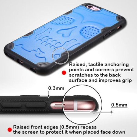 Insten Skullcap Hard TPU Case For Apple iPhone 6 Plus/6s Plus - Blue/Black - image 1 de 7