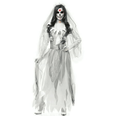 Ghost Bride Costume (Adult Women's  White Grey Zombie Ghost Bride Costume)