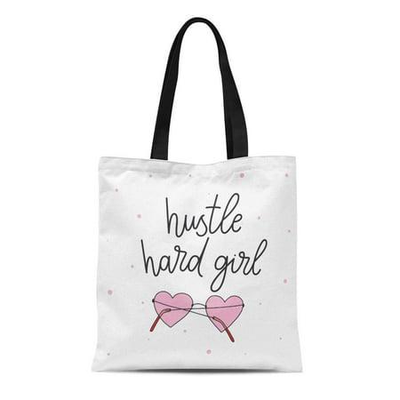 ASHLEIGH Canvas Tote Bag Sarcasm Hustle Hard Girl Sunglasses Motivational About Beautiful Reusable Shoulder Grocery Shopping Bags Handbag