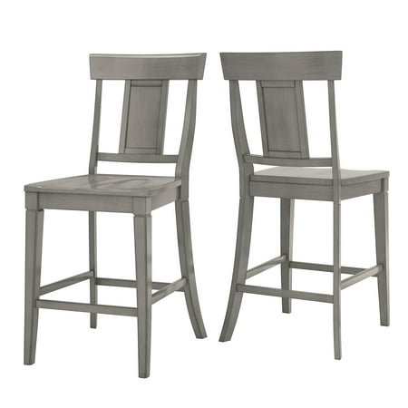 Weston Home Farmhouse Vintage Panel Back Solid Wood Counter Height Chair, Set of 2, Multiple Finishes