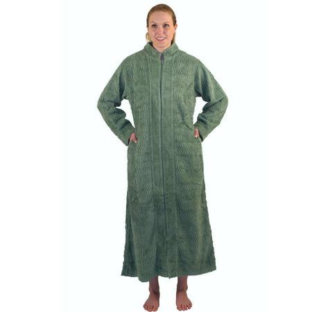 volume large online retailer marketable Women's Zipper Front Chenille Bathrobe 100% cotton Length 52 inches