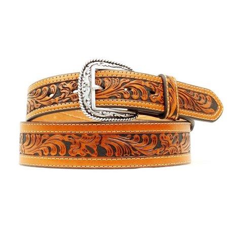 Ariat Western Belt Mens Floral Tooled Leather Logo Brown A1015008