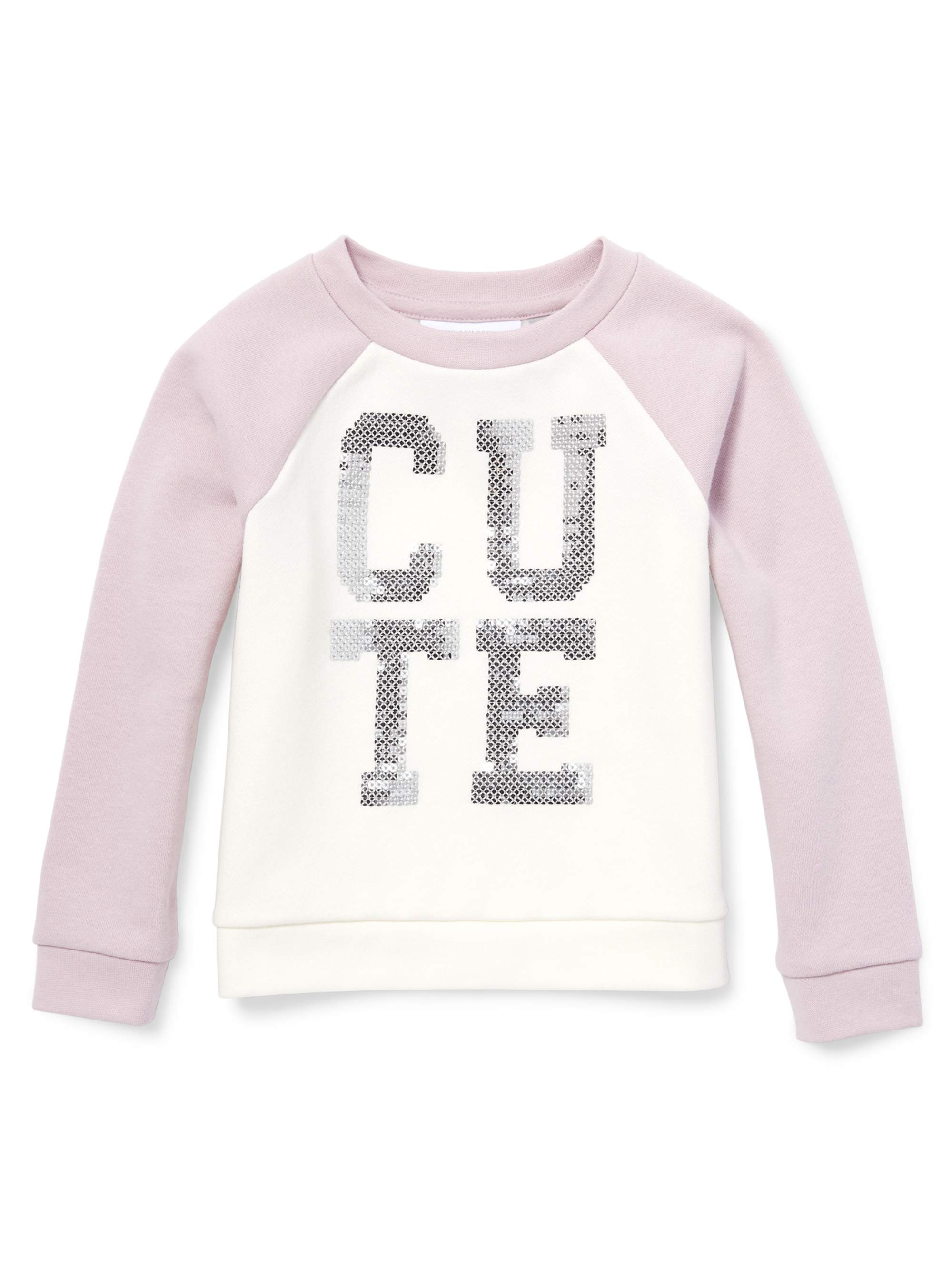 Baby And Toddler Girls Active Long Raglan Sleeve Sequin Pullover