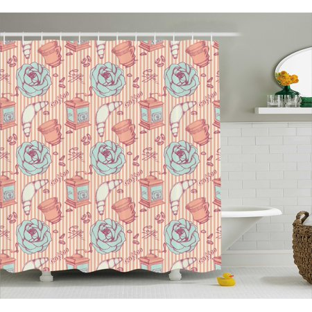 Kitchen Decor Shower Curtain, Shabby Chic Hand Drawn Roses and Coffee Must Have Materials, Fabric Bathroom Set with Hooks, 69W X 84L Inches Extra Long, Baby Blue and Light Pink, (Shabby Chic Baby Clothes)