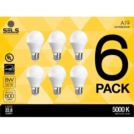 SELS LED, LED light bulb, 8W (60W Equivalent), Daylight, A19 LED Bulb, 5000K, Non Dimmable, UL Listed, Suitable for Damp Locations, Indoor Outdoor Use, (6