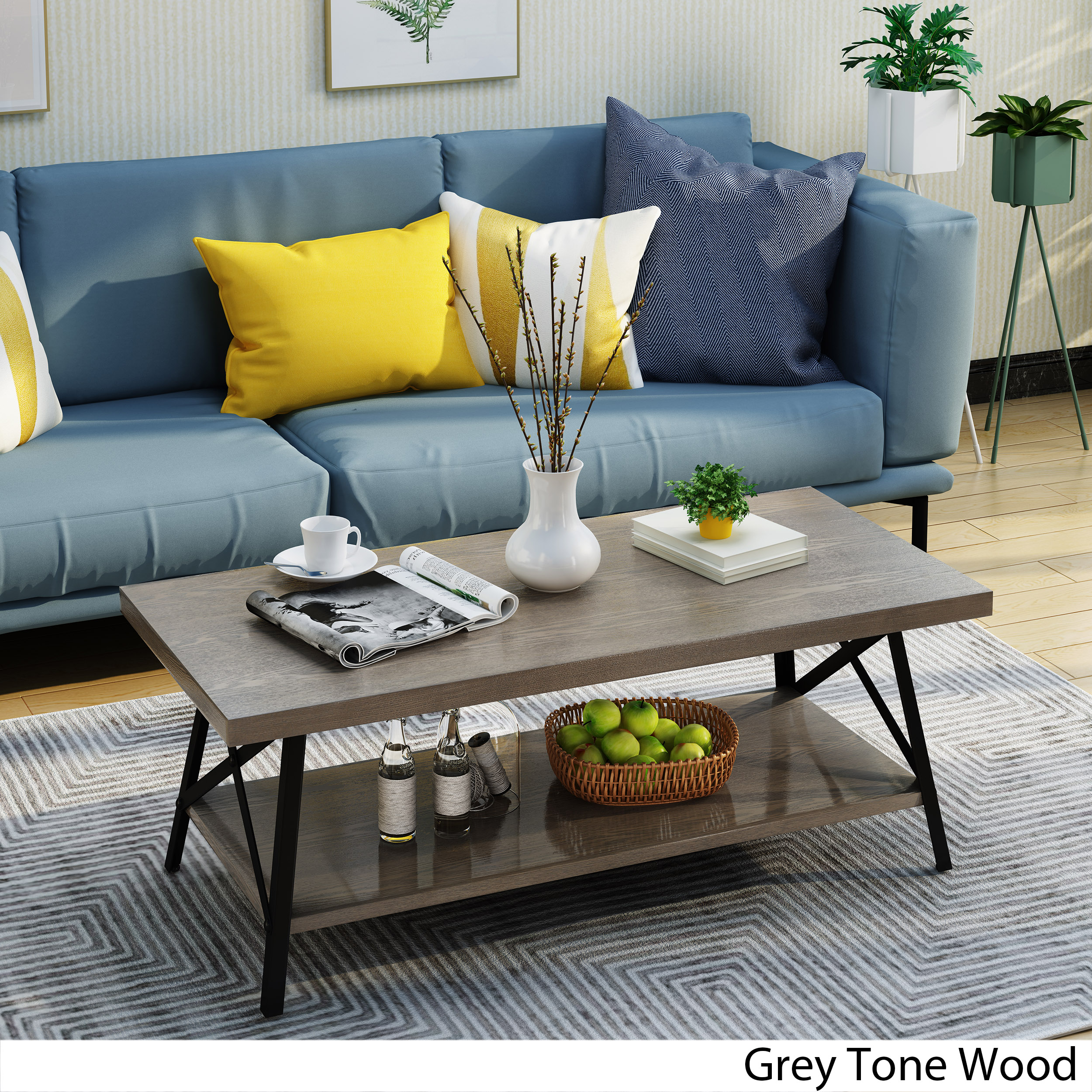 Noble House Cicero Industrial Finish Faux Wood Coffee Table,Grey
