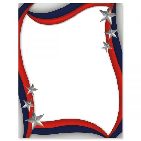 spangled stars patriotic letter papers set of 25 american flag