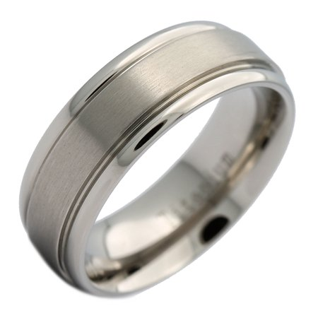 8mm Titanium Brushed Center Grooved Edge Wedding Band Ring (Titanium Center)