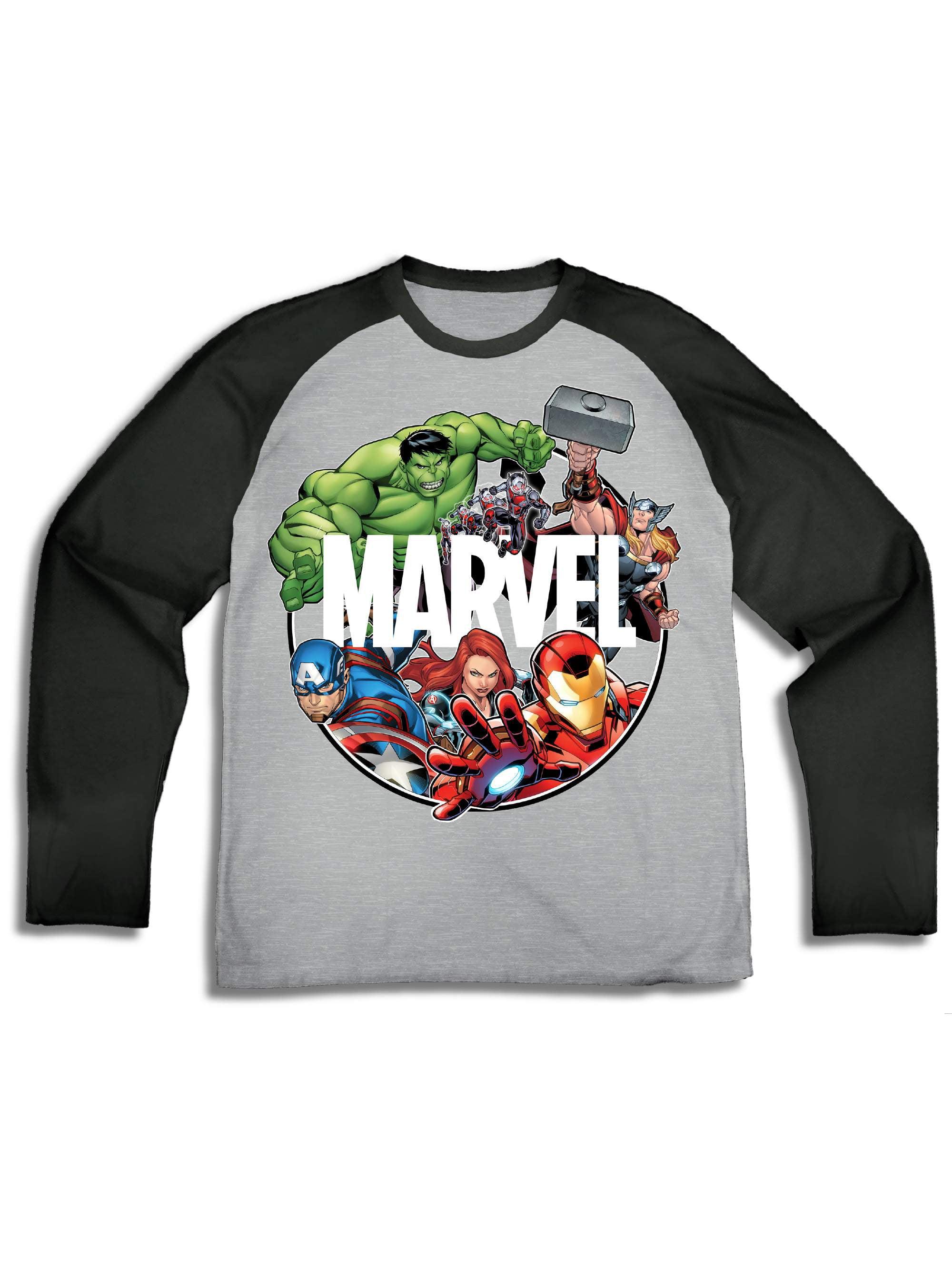 54fdbcfcbfe7 Marvel - Long Sleeve Raglan Graphic Tee (Little Boys   Big Boys) -  Walmart.com