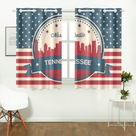 - CADecor Vintage Tennessee State Nashville SkylineWindow Treatment Panel Curtains Window Curtain Kitchen Curtain,Two Piece 26x39 Inces