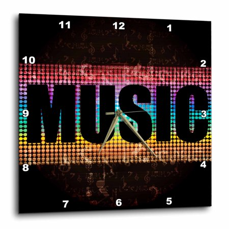3dRose The Word Music Against A Lit Blue, Purple, Turquoise, and Yellow Background With Musical Notes - Wall Clock, 13 by 13-inch ()