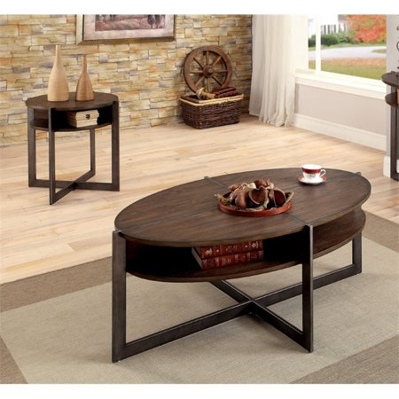 Furniture Of America Tus 2 Piece Coffee Table Set In Dark Oak