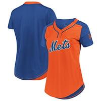 New York Mets Majestic Women's League Diva Mesh T-Shirt - Orange/Royal