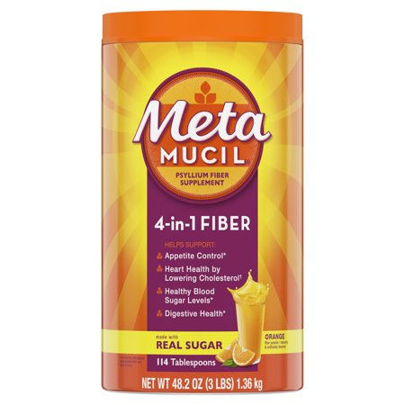 Metamucil Fiber, 4-in-1 Psyllium Fiber Supplement Powder with Real Sugar, Orange Smooth Flavored Drink, 114 Servings