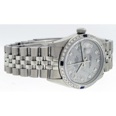 Best Pre-Owned Rolex Mens Datejust Steel and 18K White Gold Meteorite Diamond and Sapphire Watch Jubilee Quickset deal